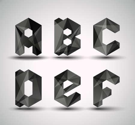 poligonos: Moda Negro fractal ABCDEF geom�trica alfabeto, ilustraci�n vectorial