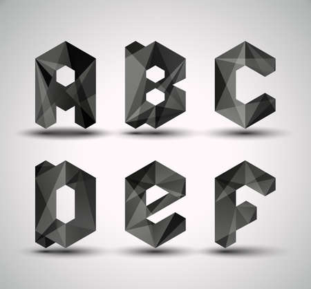 Trendy Black Fractal Geometric Alphabet  ABCDEF, Vector Illustration   Vector