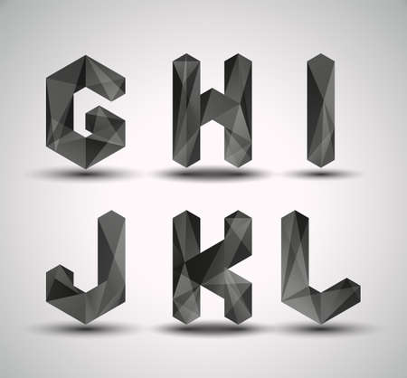 paper spell: Trendy Black Fractal Geometric Alphabet  GHIJKL, Vector Illustration