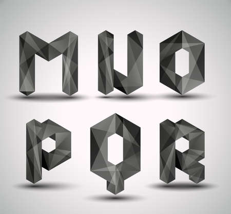 paper spell: Trendy Black Fractal Geometric Alphabet  MNOPQR, Vector Illustration