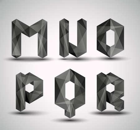 Trendy Zwarte Fractal Geometrische alfabet MNOPQR, Vector Illustratie
