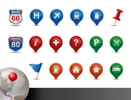 GPS and MAP Icon Set  Vector