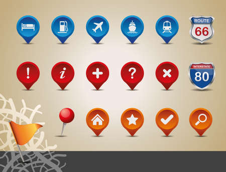 GPS and MAP Icon Set  Vector Illustration