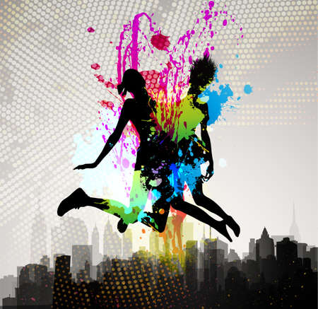 city lights: Two girls jumping over city   Illustration