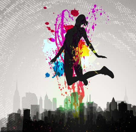 the acrobatics: Chica saltando por encima de la ciudad Vectores