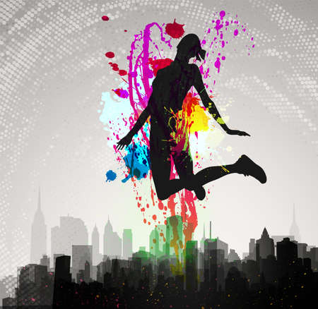 abstract dance: Girl jumping over city   Illustration
