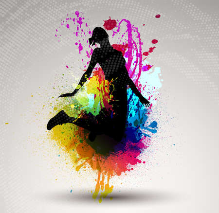 city lights: Girl jumping over ink splash background