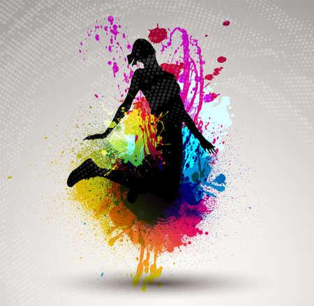 donna che balla: Salto ragazza su sfondo d'inchiostro spruzzata