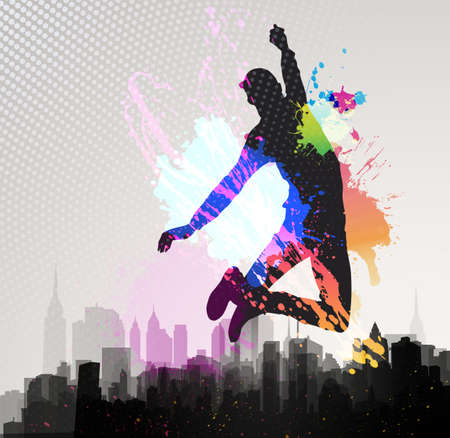 hip hop dancing: Young man jumping over city background   Illustration