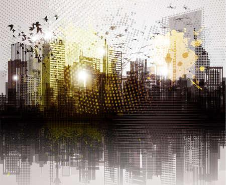 Grunge stadspanorama Vector Illustratie