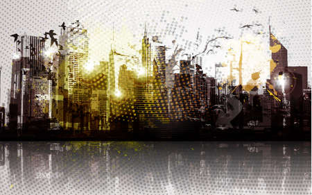 Grunge city panorama   Stock Vector - 12810088
