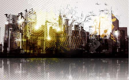 panorama city panorama: Grunge panorama de ciudad