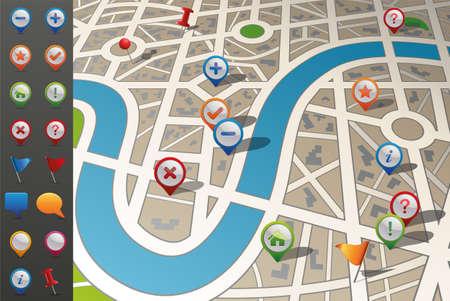 cruce de caminos: Mapa de calles con los iconos del GPS Vectores