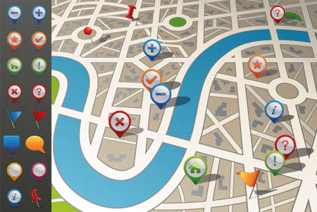 global positioning system: Street Map with GPS Icons