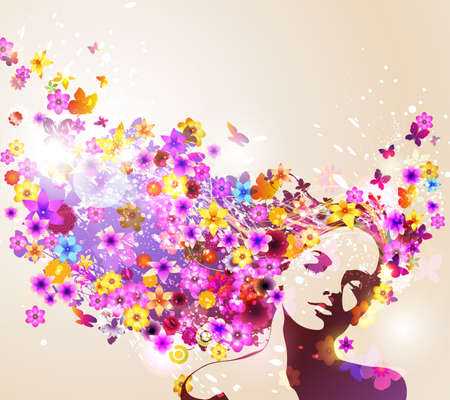 Portrait of beautiful young woman in sensual state covered with flowers Vector