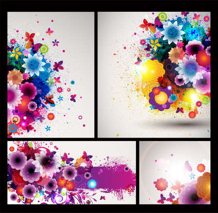 Grungy Floral Background set  Vector