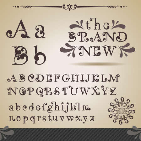 retro font: Alphabet Swirly