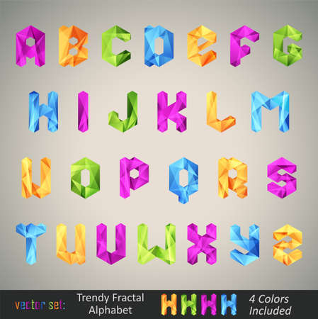 polygons: Trendy Colorful Alphabet based on Fractal Geometry