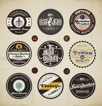certified: Retro Badges and Labels set.