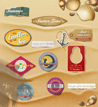 Summer Design Elements On Sand Background. Vector