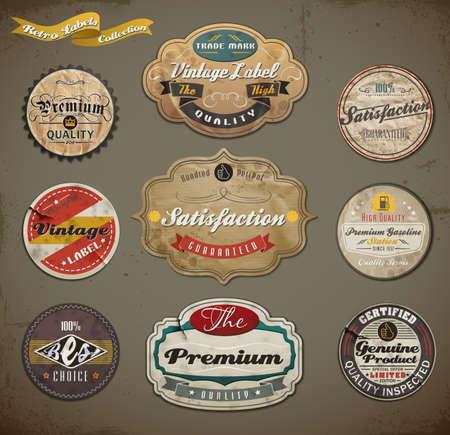vintage etiket: Retro stijl oude papieren Label collectie.