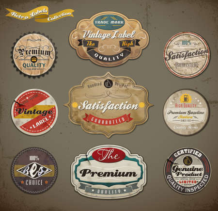 retro styled: Retro styled old papers Label collection.