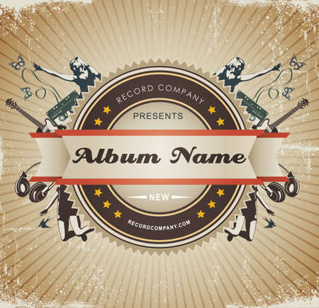 grunge music background: Vintage Music Sign Badge Vectores