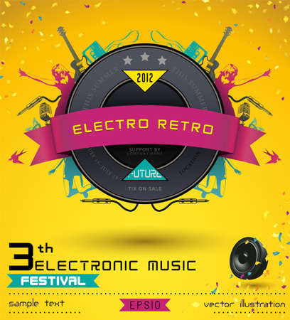 Music Concept, Retro Poster Template.  Vector