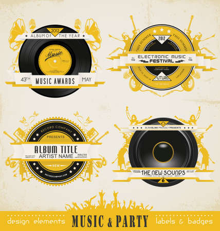 Vintage Music Labels and Badges.  Stock Vector - 14965944