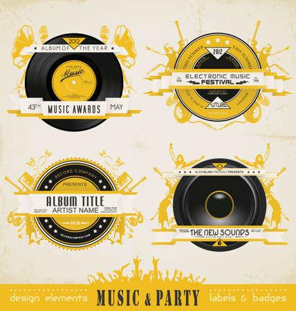 music festival: Vintage Music Labels and Badges.  Illustration