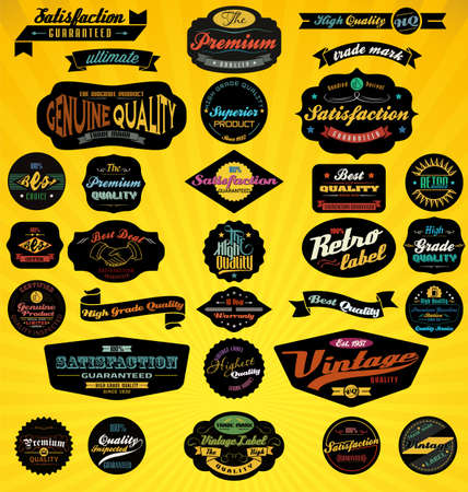 Black Retro Labels Collection   Vector