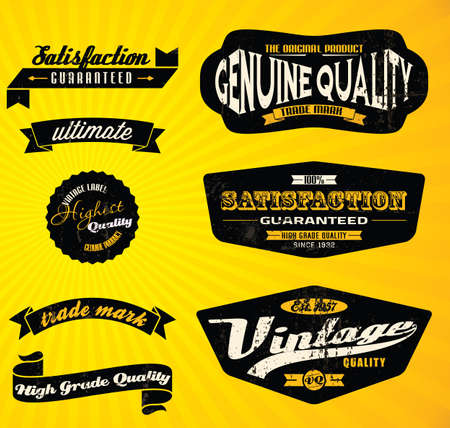 Black Retro labels   Vector