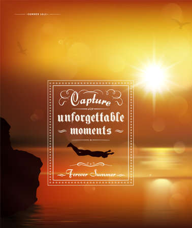 retro sunrise: Capture unforgettable moments, creative graphic message for your summer design