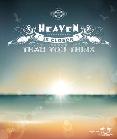 리본: 하늘은 당신이 생각하는 것보다 가까이있다, 당신의 여름의 디자인을위한 크리 에이 티브 그래픽 메시지 일러스트