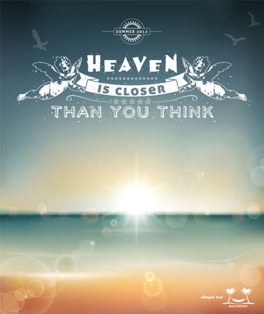 paradise beach: Heaven is closer than you think, creative graphic message for your summer design