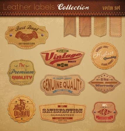 Leather Labels Collection   Stock Illustratie