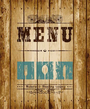 marco madera: Tarjeta de menú decorativo