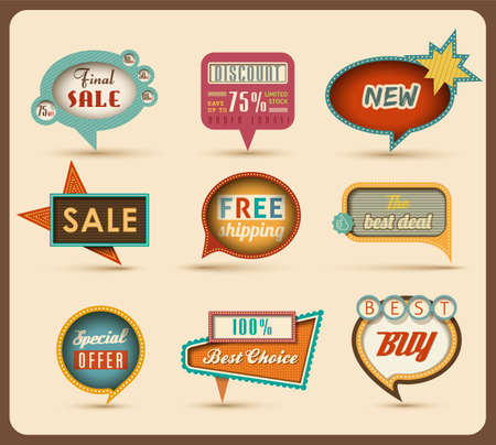 discount banner: The new retro speech bubbles signs collection  Vector Illustration