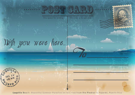trip travel: Vintage summer postcard  Vector illustration