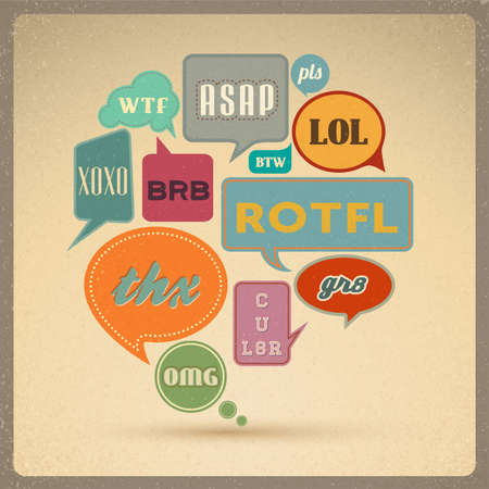 Most common used acronyms and abbreviations on retro style speech bubbles   Çizim