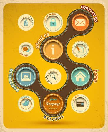 テンプレートのレトロな web デザイン ベクトル イラスト  イラスト・ベクター素材