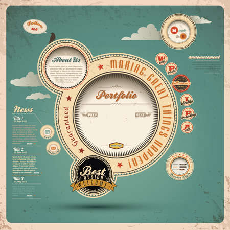 Vintage Web design  Vector
