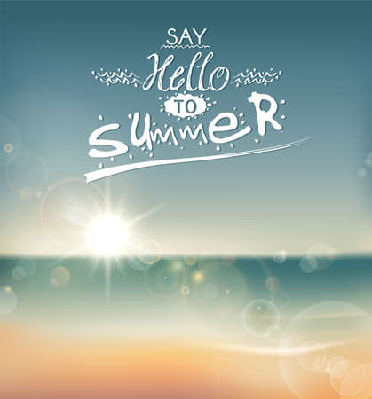 paradise beach: Say Hello to Summer, creative graphic message for your summer design   Illustration