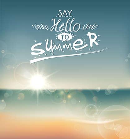 zomer: Zeg hallo tegen de zomer, creatieve grafische boodschap voor uw zomer ontwerp