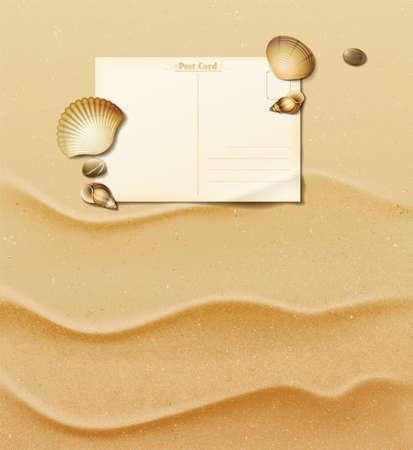 white sand beach: Blank old postcard on sand