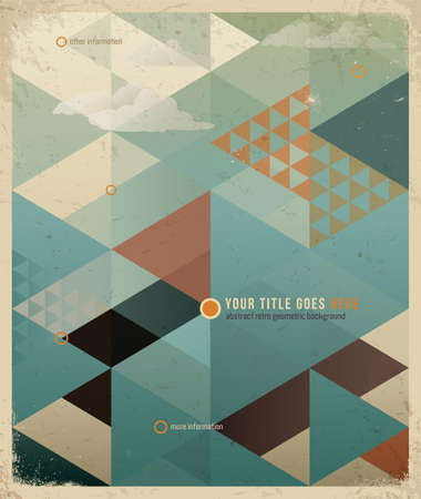 Abstract Retro Geometric Background with clouds