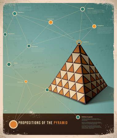 レトロなインフォ グラフィック テンプレート デザイン;ピラミッドの命題  イラスト・ベクター素材