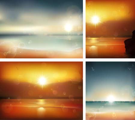 reflectie water: Seascape achtergronden Vector Illustratie