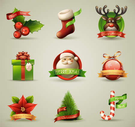 christmas tree set: Christmas IconsObjects Collection Illustration