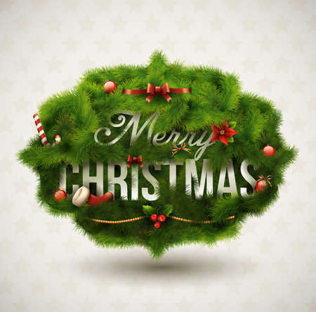 pine decoration: &quot,Merry Christmas&quot, Creative label